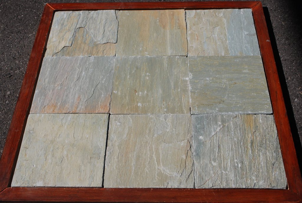 "Lime Yellow Slate Tile - 12"" x 12"" x 3/8"" - 5/8"""