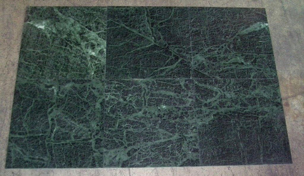 "Polished Dark Green Marble Tile - 12"" x 12"" x 3/8"""