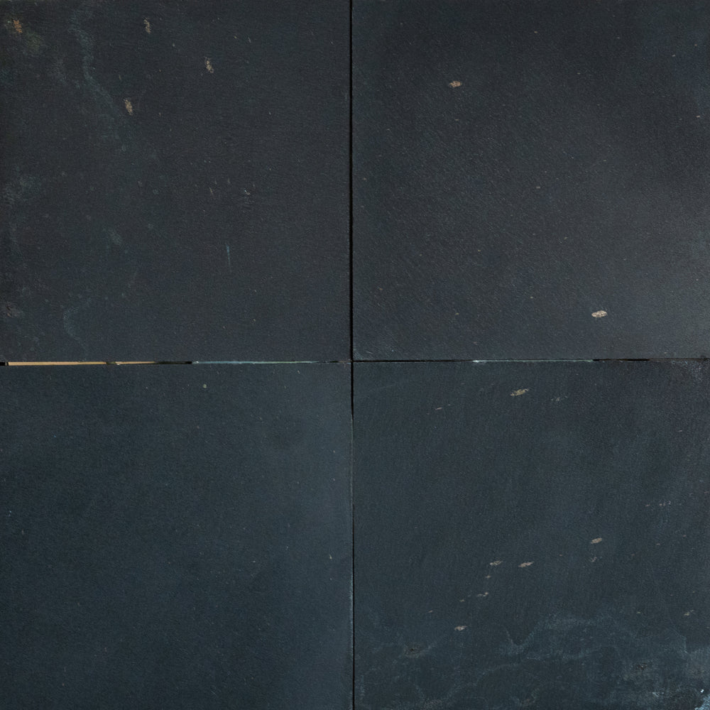 "Full Tile Sample - Midnight Black Slate Tile - 16"" x 16"" x 3/8"" - 1/2"" Honed"