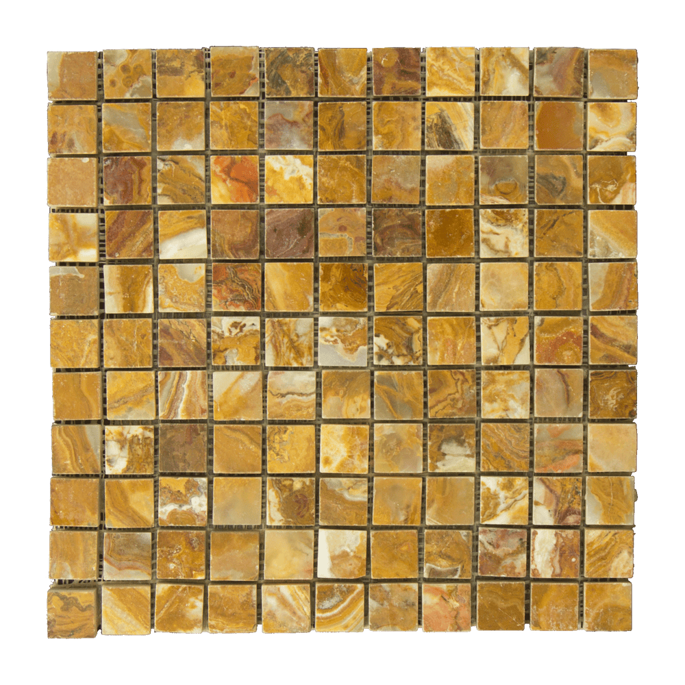 "Multi Brown Onyx Mosaic - 1"" x 1"" Polished"