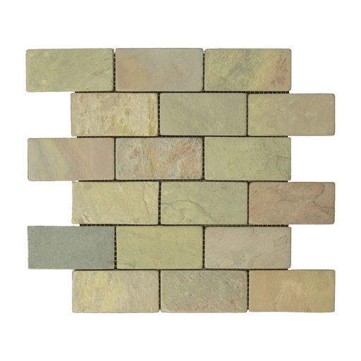 "Multi Color Classic Slate Mosaic - 2"" x 4"" Brick Tumbled"