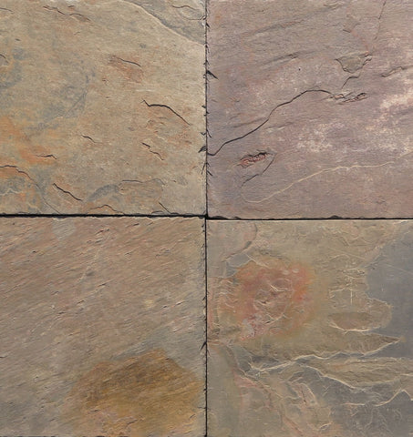 "Multi Color Classic Slate Ashler Pattern - Various Sizes x 3/8"" - 5/8"" Natural Cleft Face & Back"