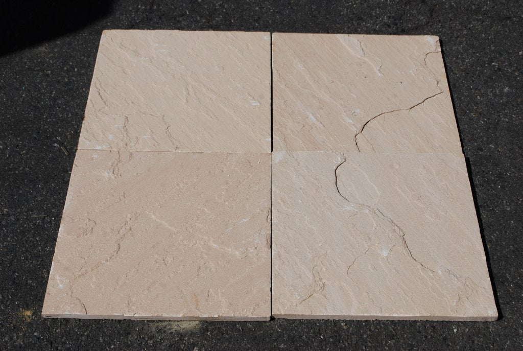 "Peach Blossom Sandstone Tile - 16"" x 16"" x 1/2"" Natural Cleft Face, Gauged Back"