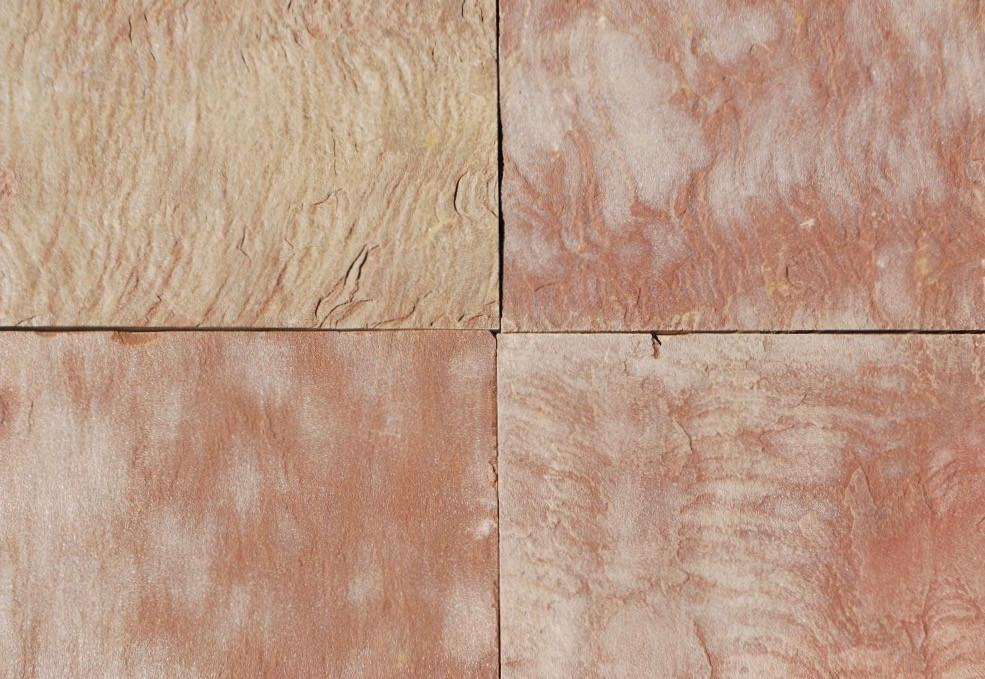 "Pink Leather Sandstone Tile - 16"" x 16"" x 1/2"" Natural Cleft Face & Back"