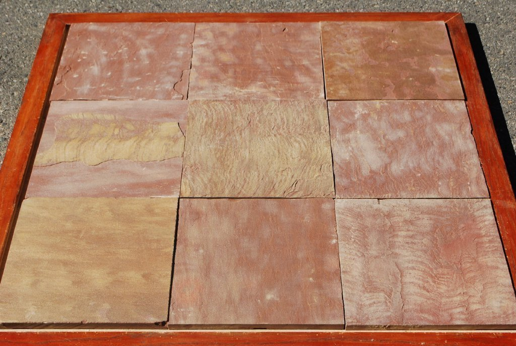 Pink Leather Sandstone Tile - Natural Cleft Face & Back