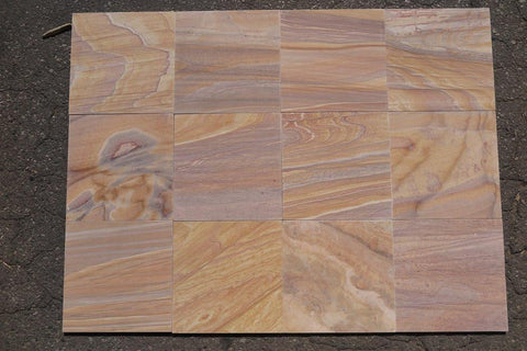 "Honed Rainbow Sandstone Tile - 12"" x 12"" x 3/8"""