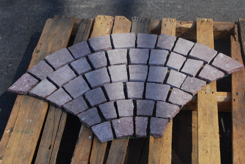 "Red Fan Pattern Porphyry Paver - 3.5"" x 3.5"" Fan with Net backing x 3/4"" Flamed"