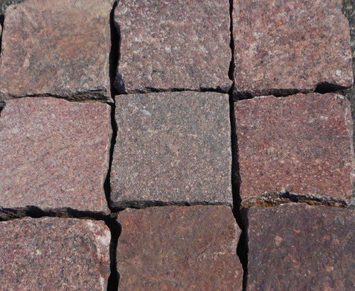"Red Mix Porphyry Paver - 12"" x Random Widths x 1 3/4"" - 2 1/4"" Natural Cleft Face & Back"
