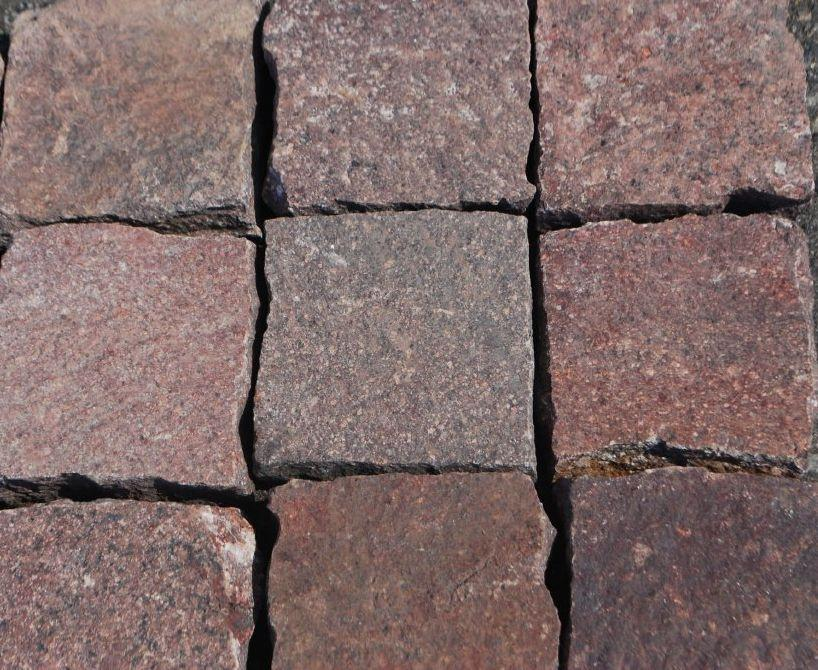 "Full Tile Sample - Red Porphyry Paver - 4"" x 4"" x 3/4"" Flamed"