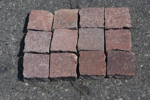 "Red Porphyry Paver - 4"" x 4"" x 3/4"" Flamed"