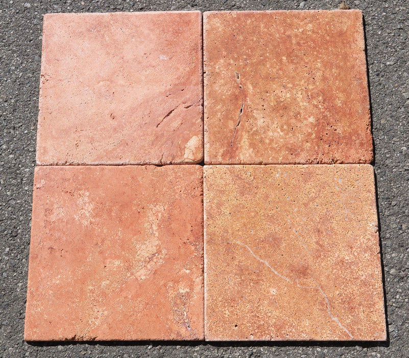 Tumbled Rojo Travertine Tile