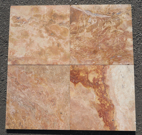 "Rojo Travertine Tile - 12"" x 12"" x 3/8"" Polished"