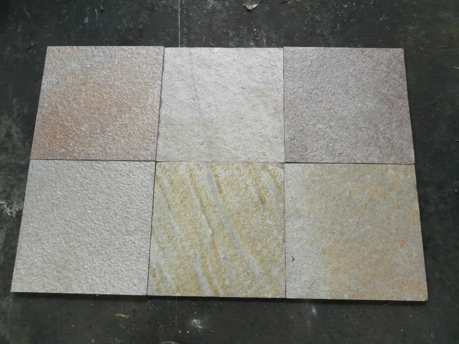 "Safari Slate Tile - 16"" x 16"" x 1/2"" Natural Cleft Face, Gauged Back"