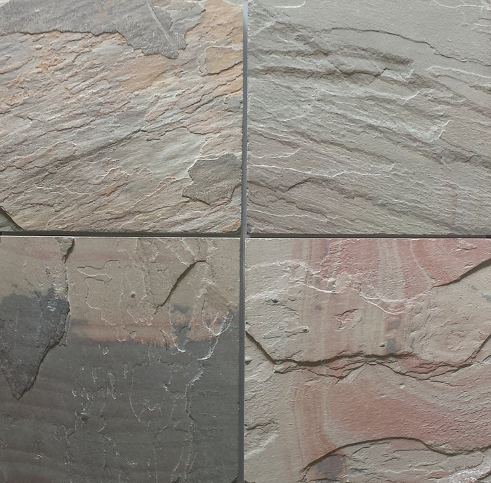 "Full Tile Sample - Select Pink Slate Tile - 16"" x 16"" x 3/8"" - 1/2"" Natural Cleft Face & Back"