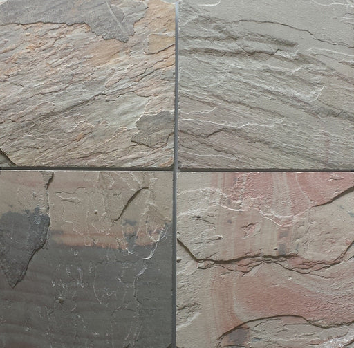 "Select Pink Slate Tile - 12"" x 12"" x 3/8"" Natural Cleft Face, Gauged Back"