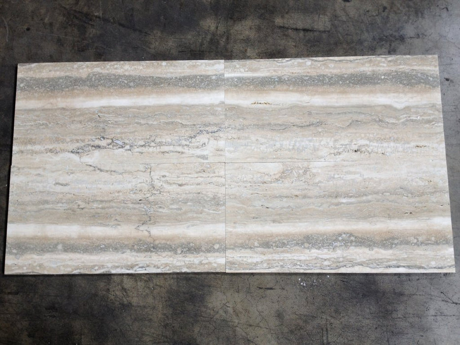 "Polished Titanium Travertine Tile - 12"" x 24"" x 1/2"""
