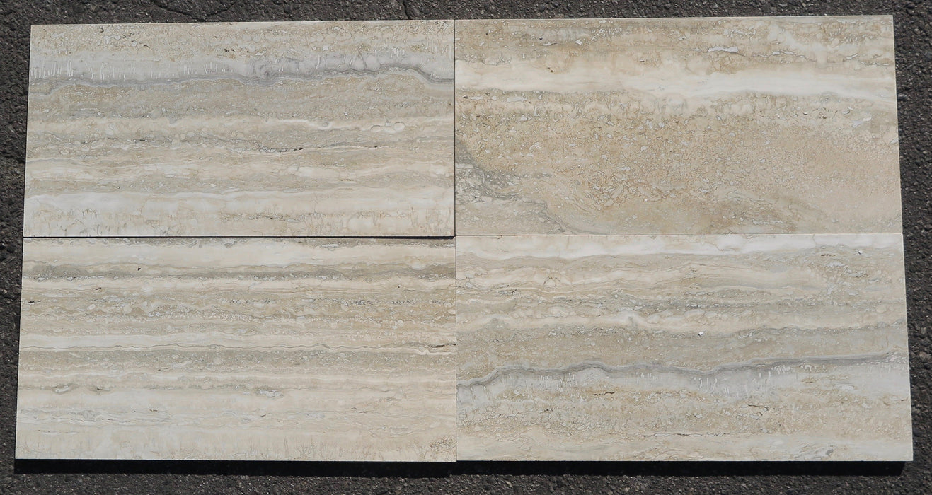 "Titanium Travertine Tile - 12"" x 24"" x 1/2"""