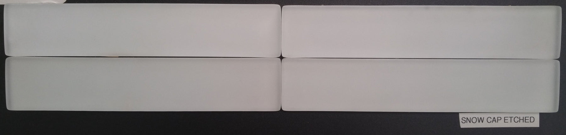 "Snow Cap Glass Tile - 1.6"" x 8.5"" x 3/8"" Etched"