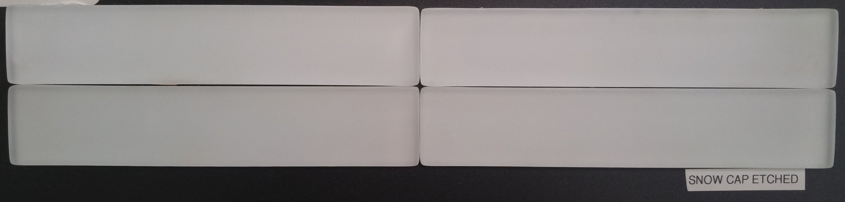 "Full Tile Sample - Snow Cap Glass Tile - 1.6"" x 8.5"" x 3/8"" Etched"