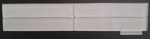 "Snow Cap Glass Tile - 1.6"" x 8.5"" x 3/8"" Polished"