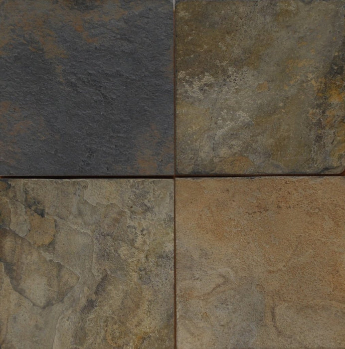 "Full Tile Sample - Summer Buff Slate Tile - 12"" x 12"" x 3/8"" Natural Cleft Face, Gauged Back"