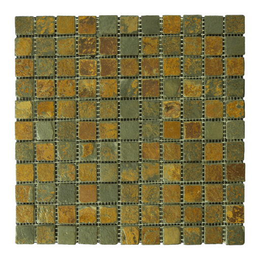"China Multi Color Slate Mosaic - 1"" x 1"" Tumbled"