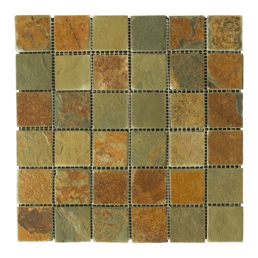 "China Multi Color Slate Mosaic - 2"" x 2"" Tumbled"