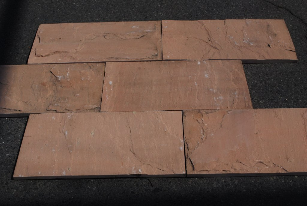 Tea Rose Sandstone Tile Natural Cleft Face, Gauged Back