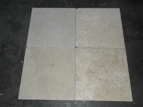 "Walnut Travertine Tile - 18"" x 18"" x 1"" Chiseled & Brushed"
