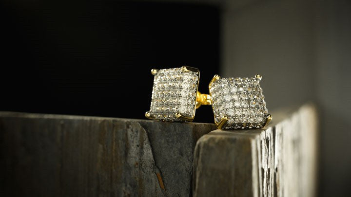 Hip Hop Gold Iced Out Earrings - Niv's Bling