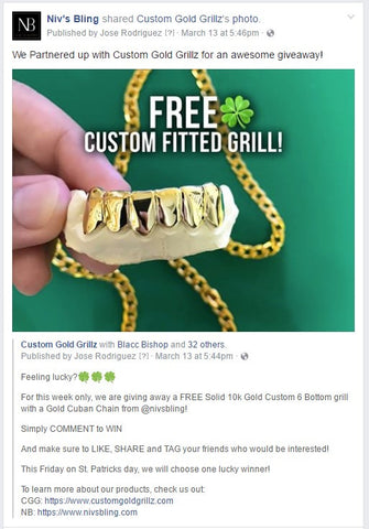 St  Patrick's Giveaway Collaboration Piece with Custom Gold Grillz