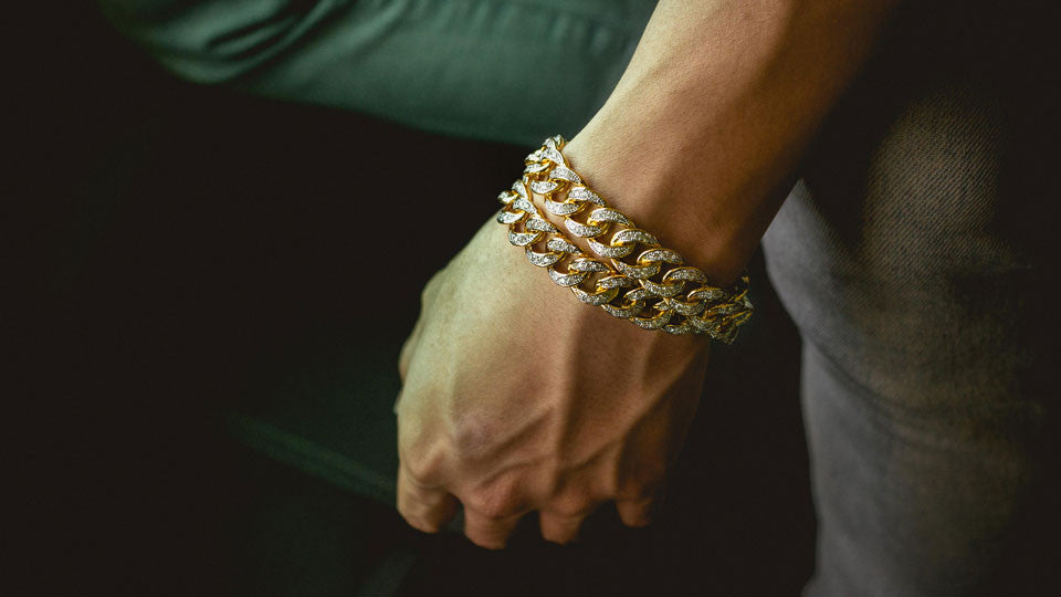 18k Iced Out Cuban Bracelet