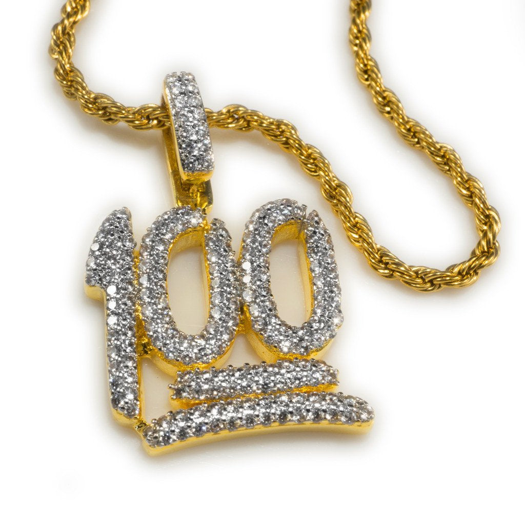 Affordable 18k Gold Iced Out 100 Emoji Pendant with Rope Hip Hop Chain - White Background