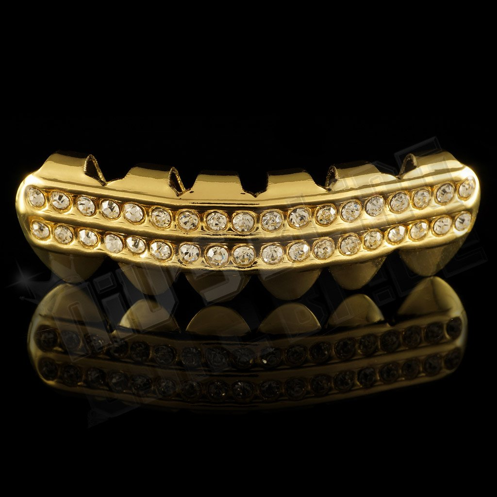 14K 2 Row Iced Out Gold Grillz