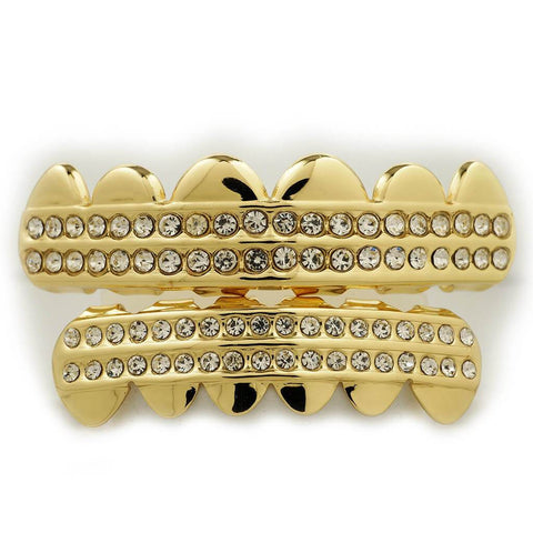 Affordable 14K 2 Row Iced Out Gold Hip Hop Grillz - White Background