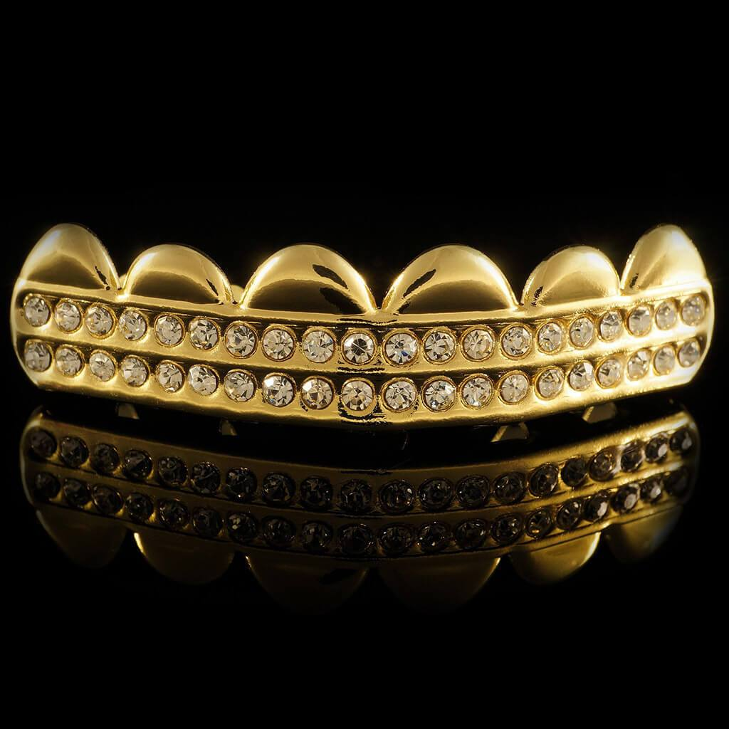Affordable 14K 2 Row Iced Out Gold Hip Hop Grillz - Top Grill