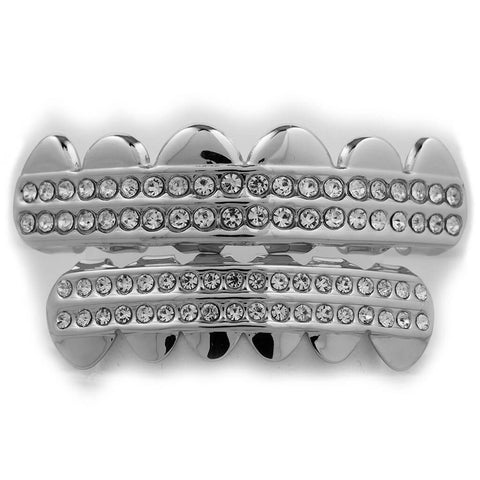 14K 2 Row Iced Out White Gold Grillz