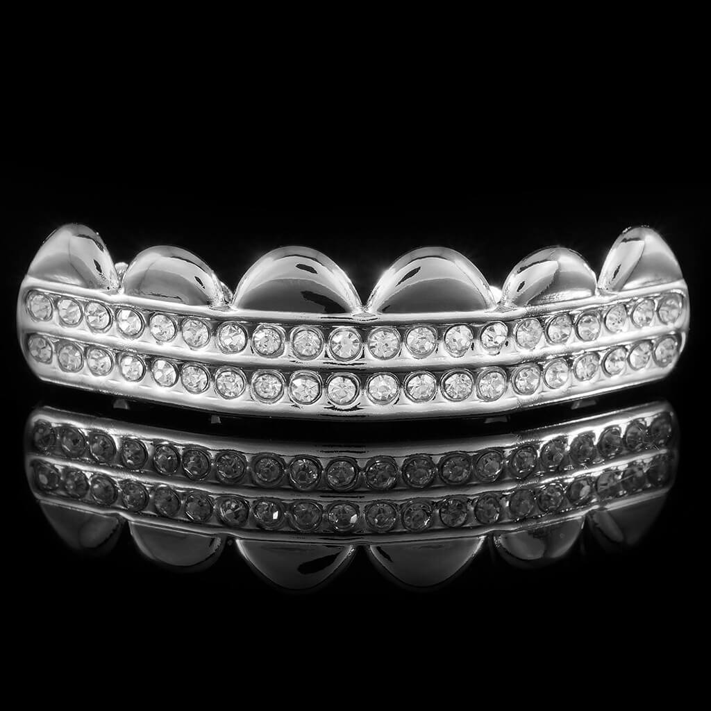 Affordable 14K 2 Row Iced Out White Gold Hip Hop Grillz - Top Grill