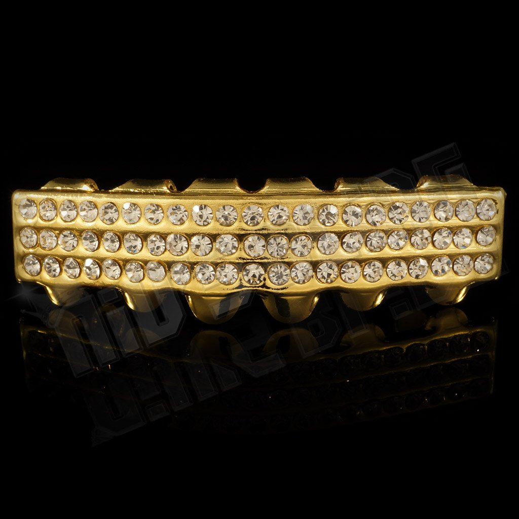 Affordable 14K 3 Row Iced Out Gold Hip Hop Grillz - Bottom Grill