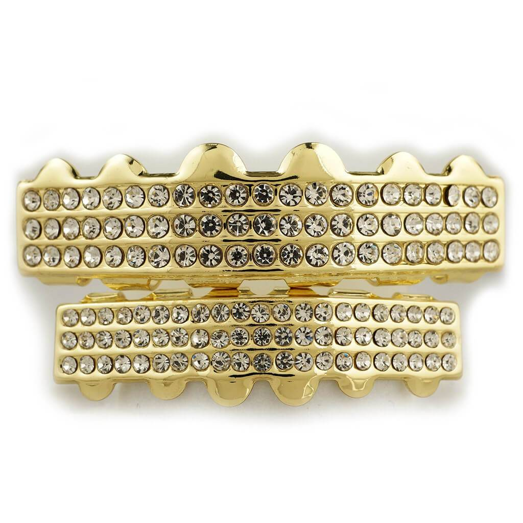 Affordable 14K 3 Row Iced Out Gold Hip Hop Grillz - White Background