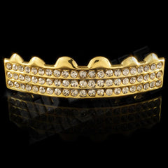 Affordable 14K 3 Row Iced Out Gold Hip Hop Grillz - Top Grill