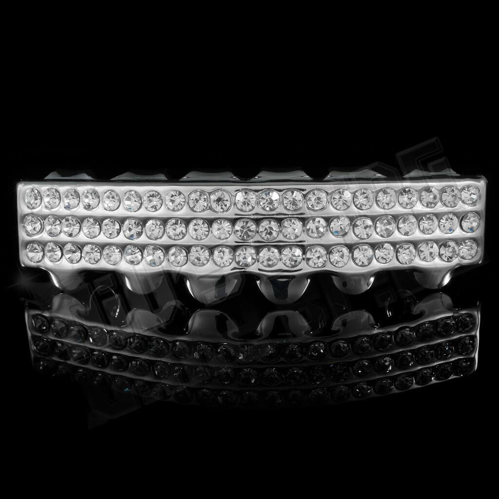 14K 3 Row Iced Out White Gold Grillz