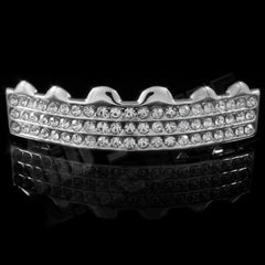 Affordable 14K 3 Row Iced Out White Gold Hip Hop Grillz - Top Grill