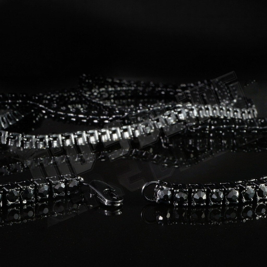 14k Black Gold Iced 1 Row Chain