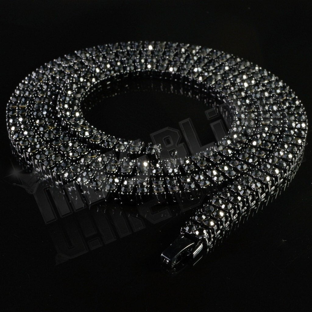 Affordable 14k Black Gold 2 Row Iced Out Hip Hop Chain - Black Background