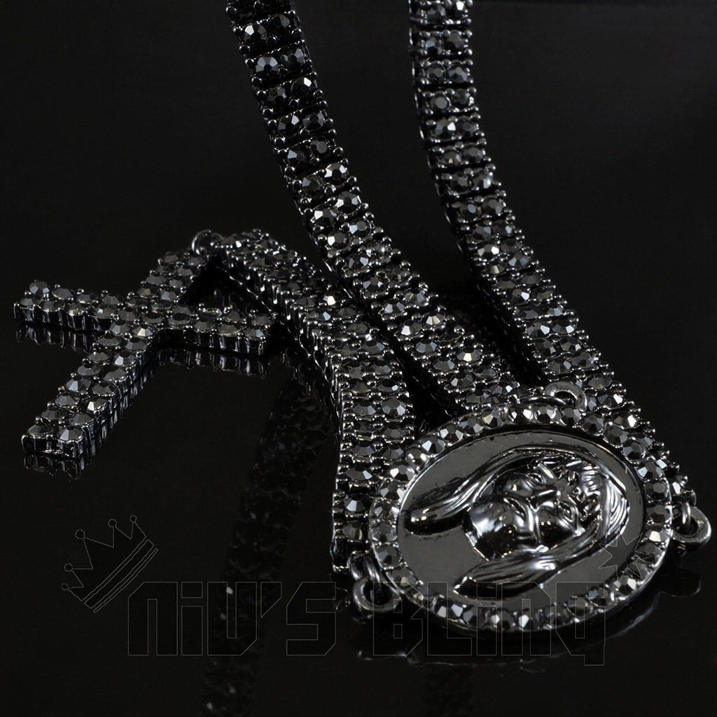 Affordable 14k Black Gold Iced Out 2 Row Rosary Hip Hop Chain - Black Background
