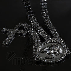 14k Black Gold Iced Out 2 Row Rosary Chain