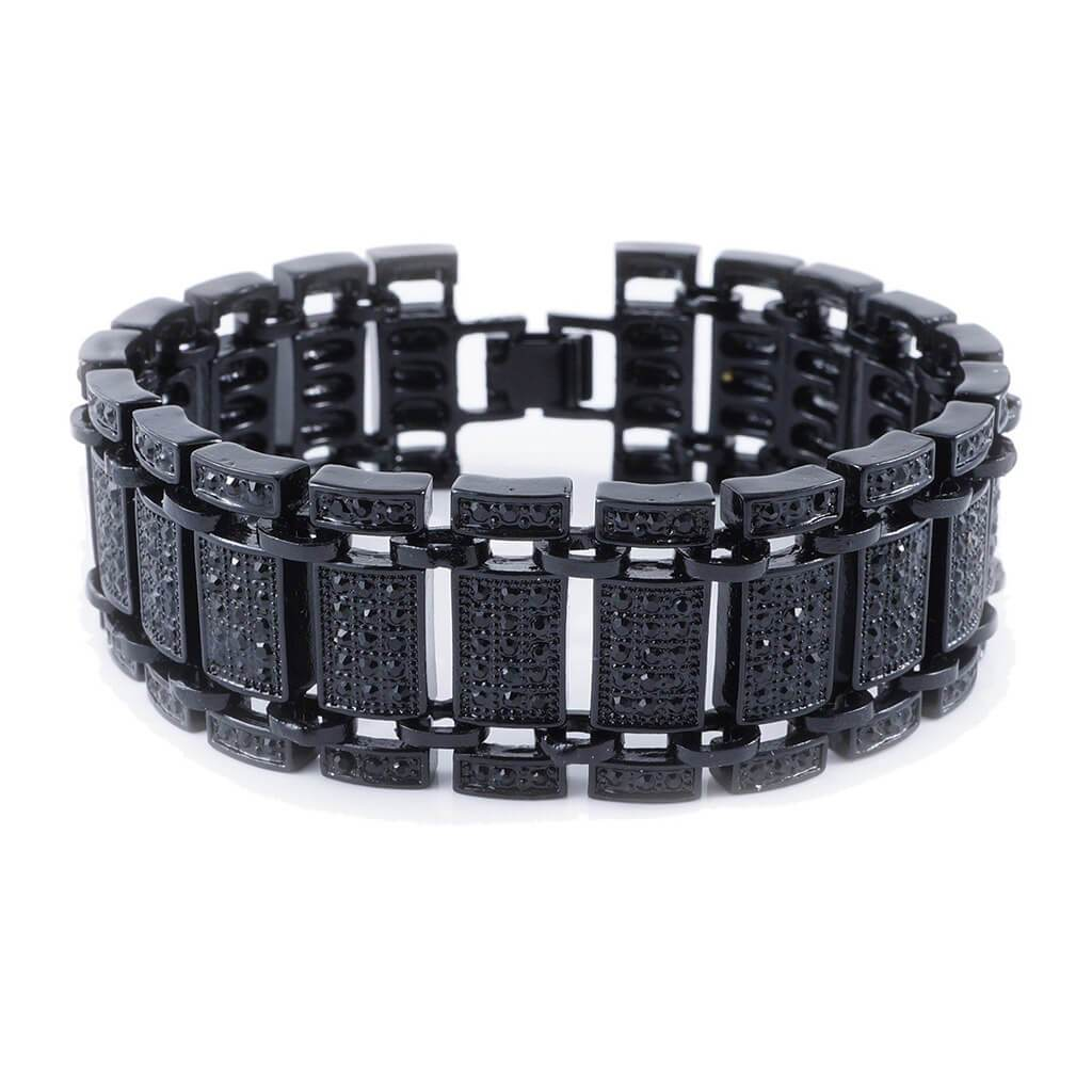 14k Black Gold Iced Ladder Bracelet