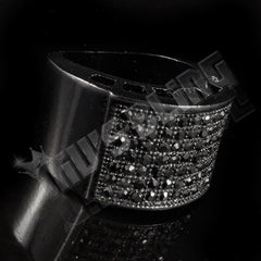 Affordable 14k Black Gold Iced Out Micropave Pinky Hip Hop Ring - Tilted Side View