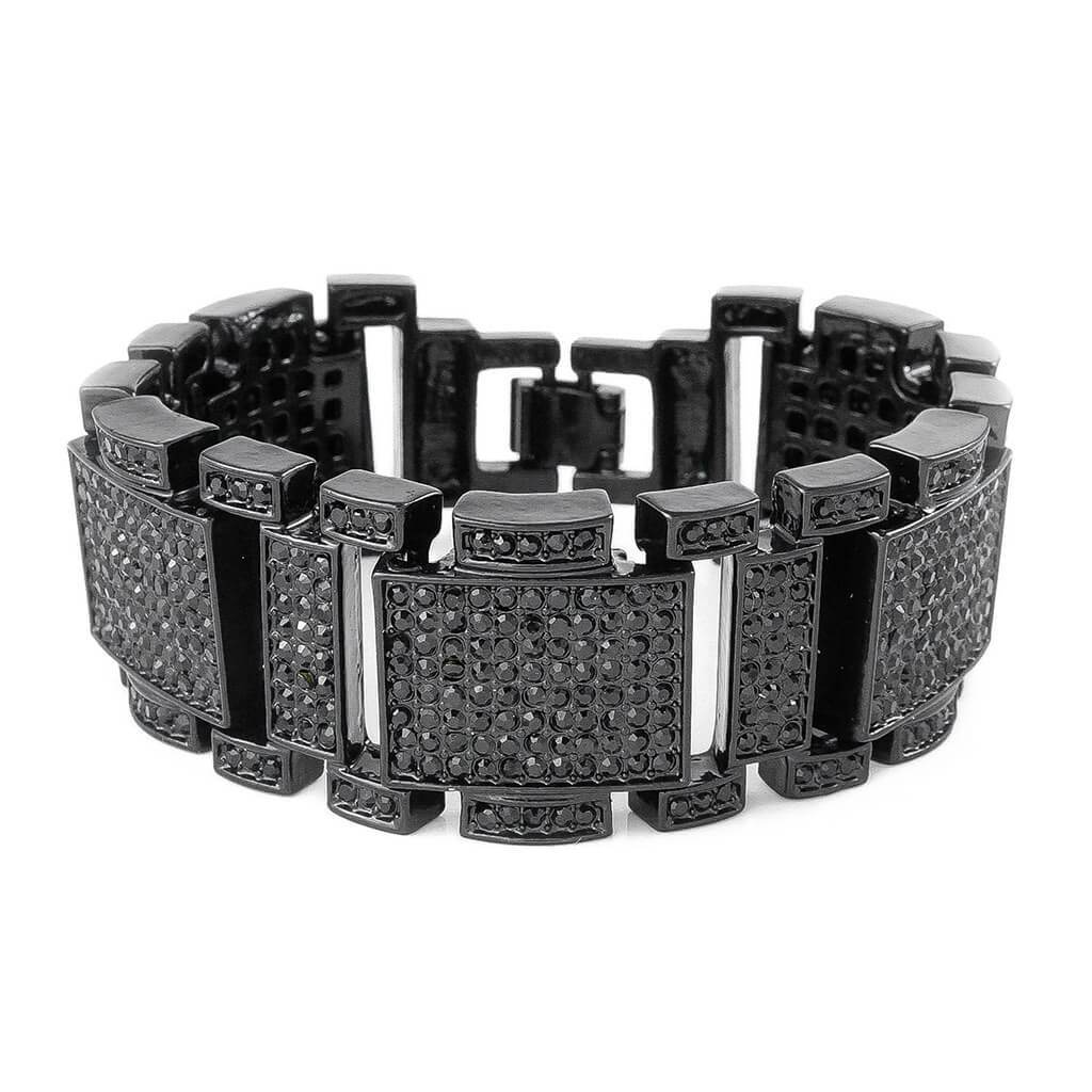 14k Black Gold Iced Mini Goliath Bracelet